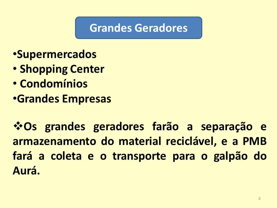 Grandes Geradores Supermercados Shopping Center Condomínios Grandes Empresas  Os grandes geradores farão a separação e armazenamento do material reci