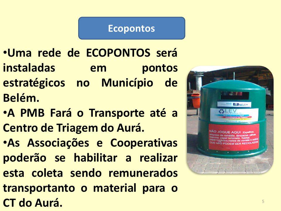 Ecopontos Uma rede de ECOPONTOS será instaladas em pontos estratégicos no Município de Belém. A PMB Fará o Transporte até a Centro de Triagem do Aurá.