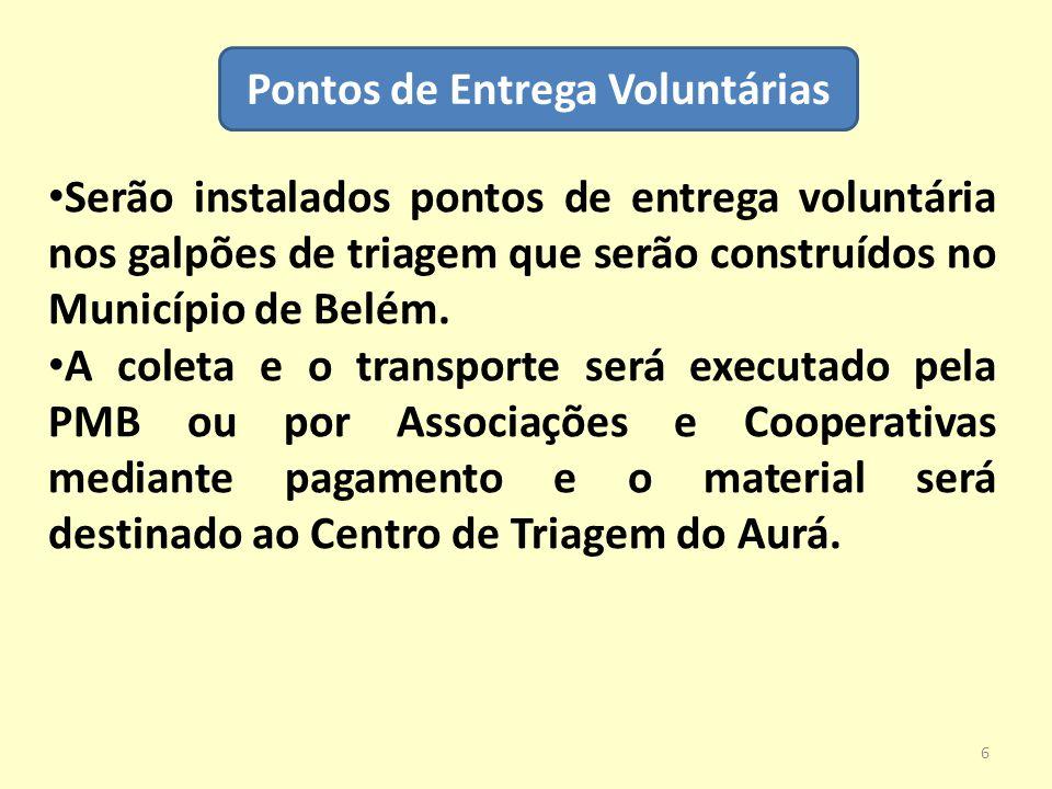 Pontos de Entrega Voluntárias Serão instalados pontos de entrega voluntária nos galpões de triagem que serão construídos no Município de Belém. A cole