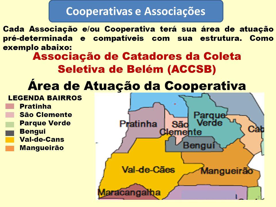 Cooperativas e Associações Cada Associação e/ou Cooperativa terá sua área de atuação pré-determinada e compatíveis com sua estrutura. Como exemplo aba