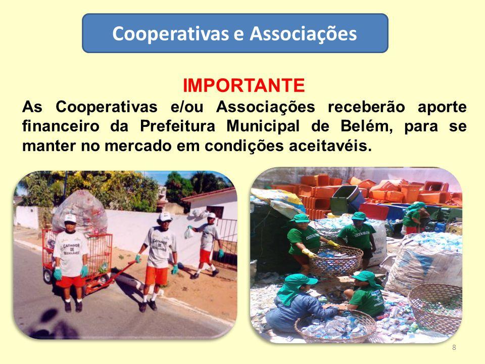 Cooperativas e Associações IMPORTANTE As Cooperativas e/ou Associações receberão aporte financeiro da Prefeitura Municipal de Belém, para se manter no