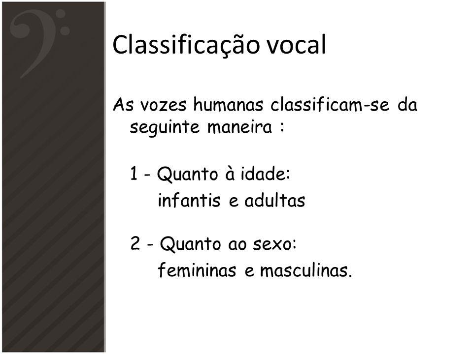 Classificação vocal As vozes humanas classificam-se da seguinte maneira : 1 - Quanto à idade: infantis e adultas 2 - Quanto ao sexo: femininas e mascu