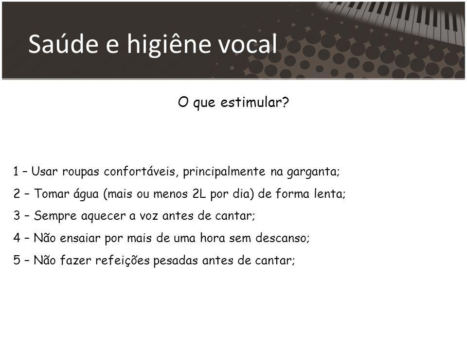 Saúde e higiêne vocal O que estimular.