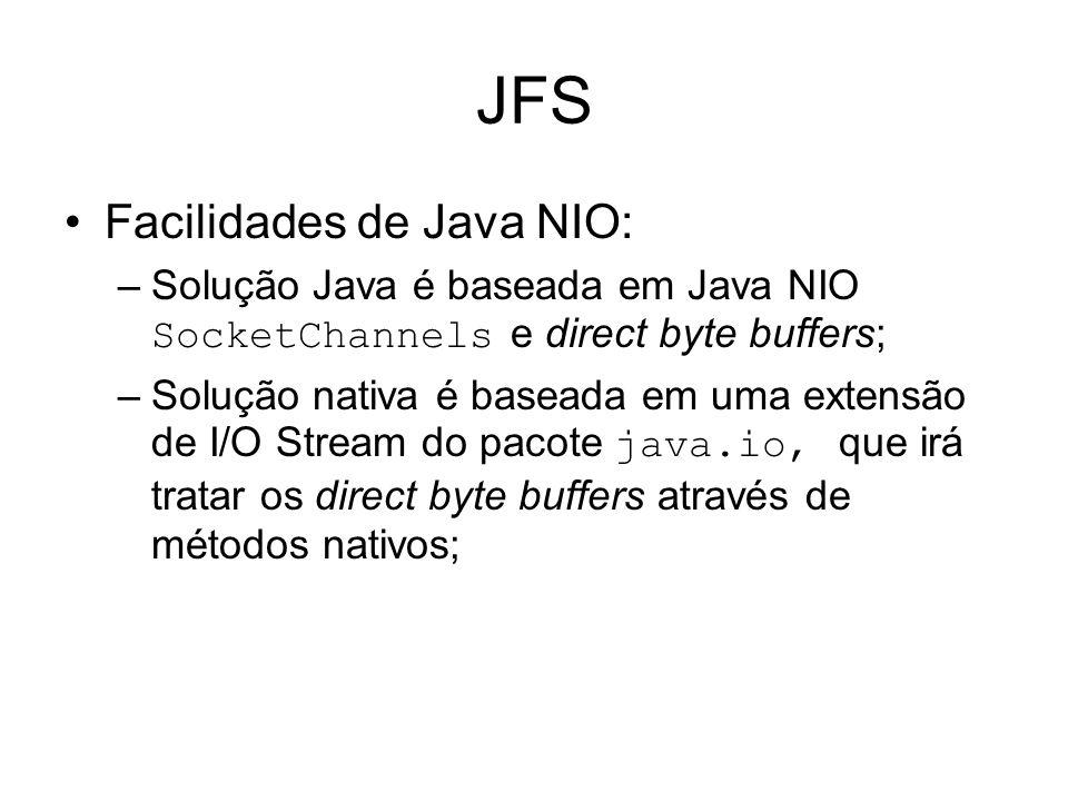 JFS Facilidades de Java NIO: –Solução Java é baseada em Java NIO SocketChannels e direct byte buffers; –Solução nativa é baseada em uma extensão de I/O Stream do pacote java.io, que irá tratar os direct byte buffers através de métodos nativos;