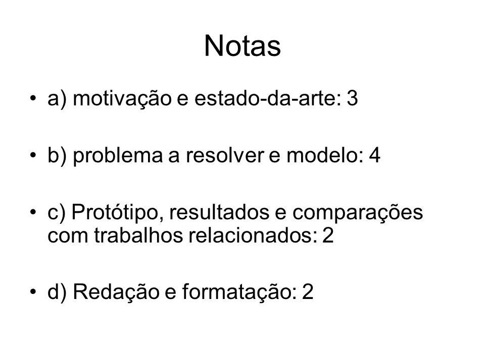 Notas a) motivação e estado-da-arte: 3 b) problema a resolver e modelo: 4 c) Protótipo, resultados e comparações com trabalhos relacionados: 2 d) Redação e formatação: 2