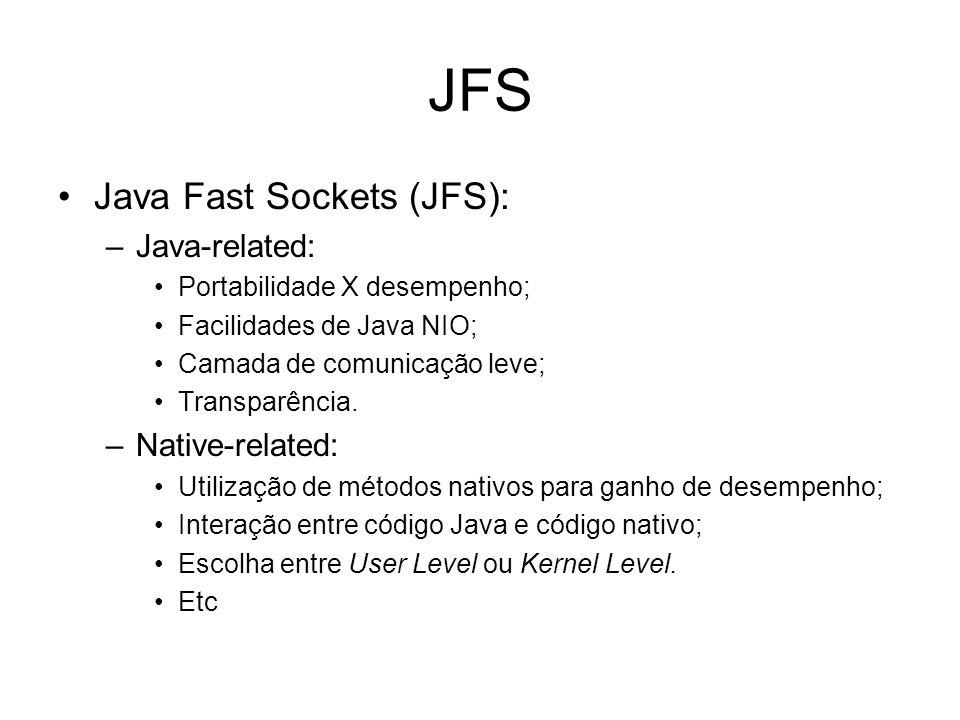 JFS Java Fast Sockets (JFS): –Java-related: Portabilidade X desempenho; Facilidades de Java NIO; Camada de comunicação leve; Transparência.