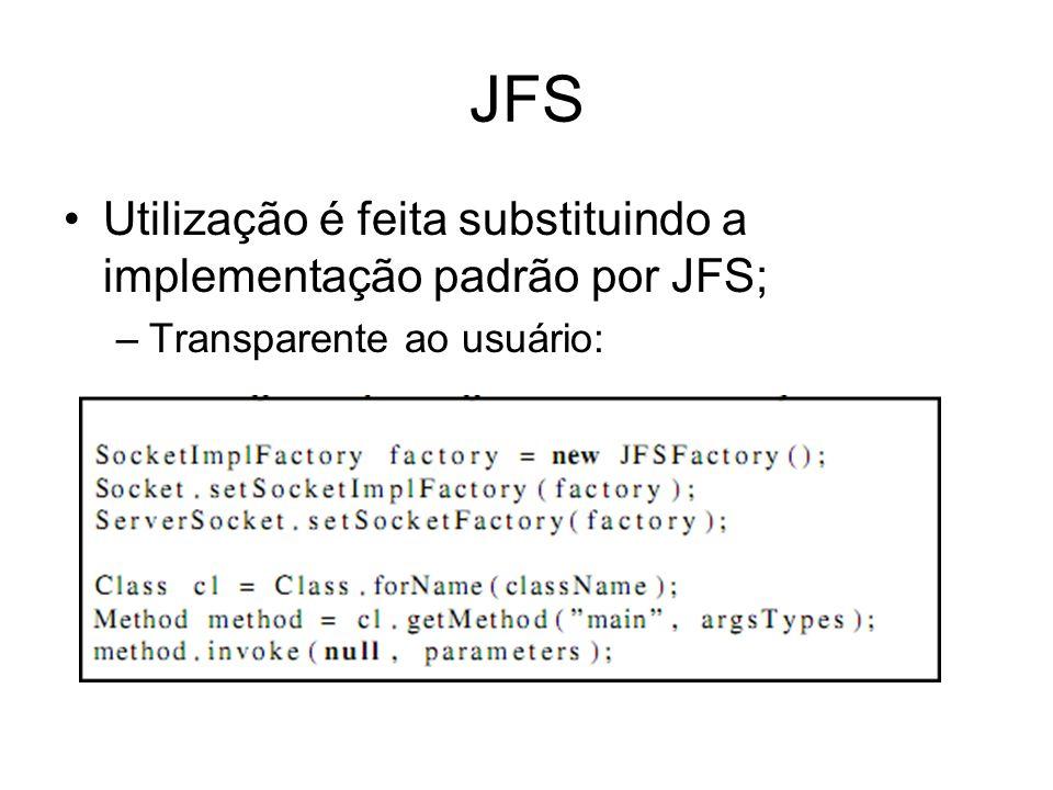JFS Utilização é feita substituindo a implementação padrão por JFS; –Transparente ao usuário: