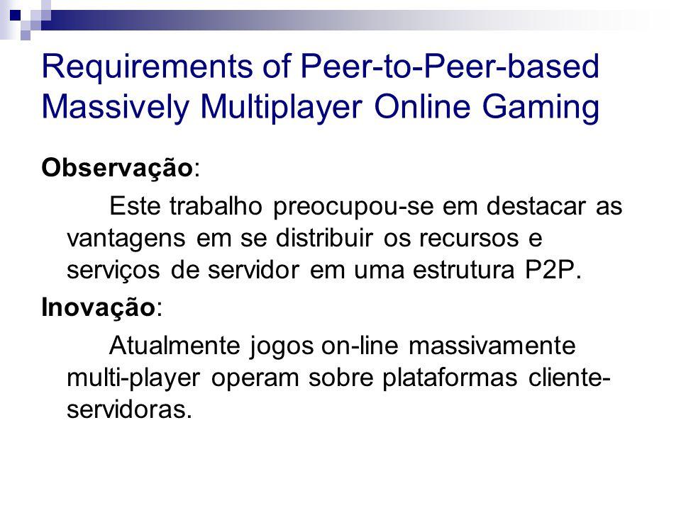 Requirements of Peer-to-Peer-based Massively Multiplayer Online Gaming Observação: Este trabalho preocupou-se em destacar as vantagens em se distribuir os recursos e serviços de servidor em uma estrutura P2P.
