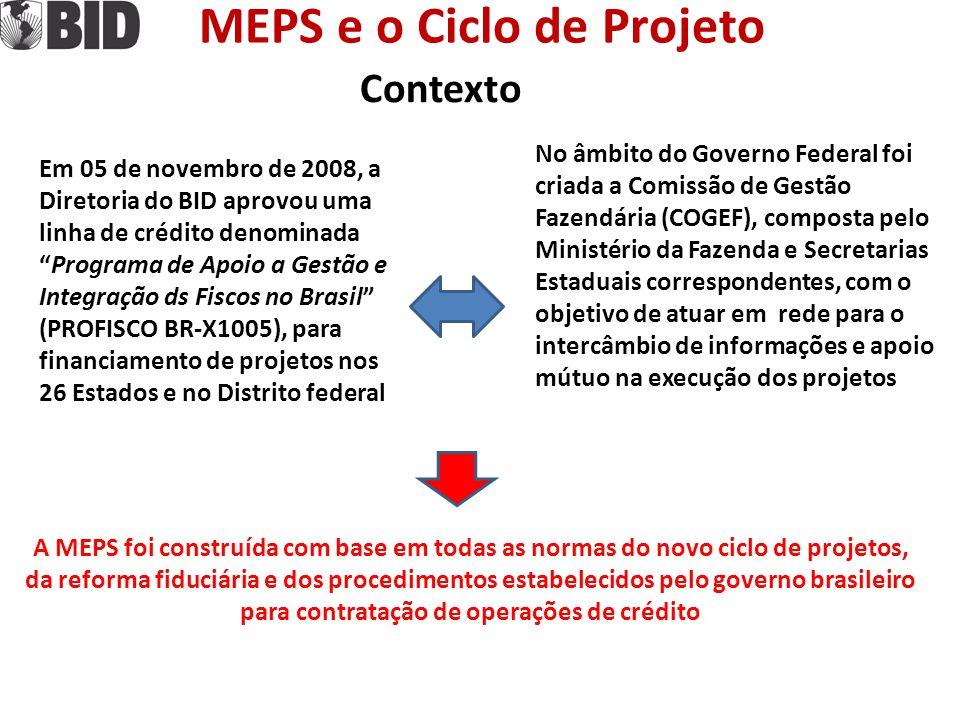"""MEPS e o Ciclo de Projeto Contexto Em 05 de novembro de 2008, a Diretoria do BID aprovou uma linha de crédito denominada """"Programa de Apoio a Gestão e"""