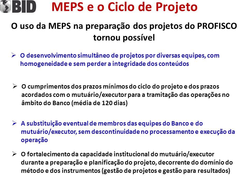 MEPS e o Ciclo de Projeto Na execução dos projetos e MEPS favorece  A administração do projeto pelas equipes de coordenação quanto ao desenvolvimento dos produtos e alcance dos resultados  O intercâmbio de informações, experiências e soluções sobre os conteúdos dos projetos entre os distintos executores  O monitoramento da execução pelo Chefe de Equipe e a disponibilidade de informações para o PMR, LRR e PCR