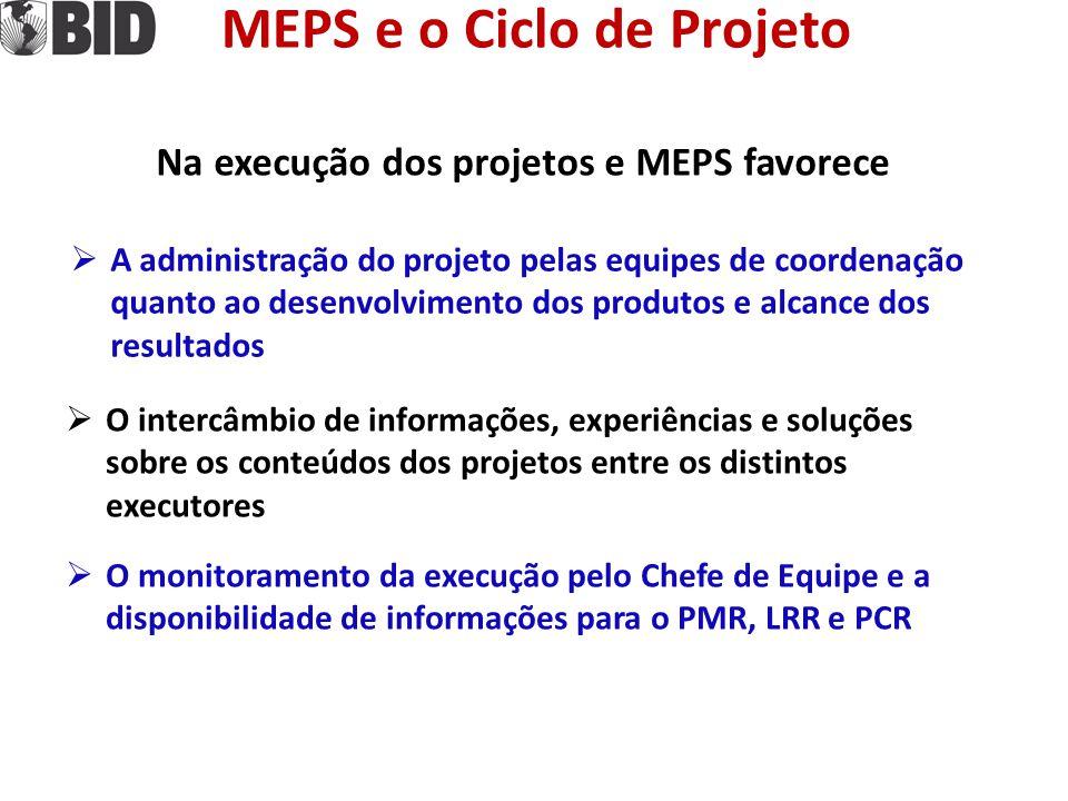 MEPS e o Ciclo de Projeto Na execução dos projetos e MEPS favorece  A administração do projeto pelas equipes de coordenação quanto ao desenvolvimento