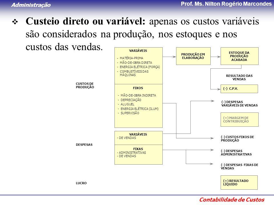 Administração Contabilidade de Custos Prof. Ms. Nilton Rogério Marcondes  Custeio direto ou variável: apenas os custos variáveis são considerados na