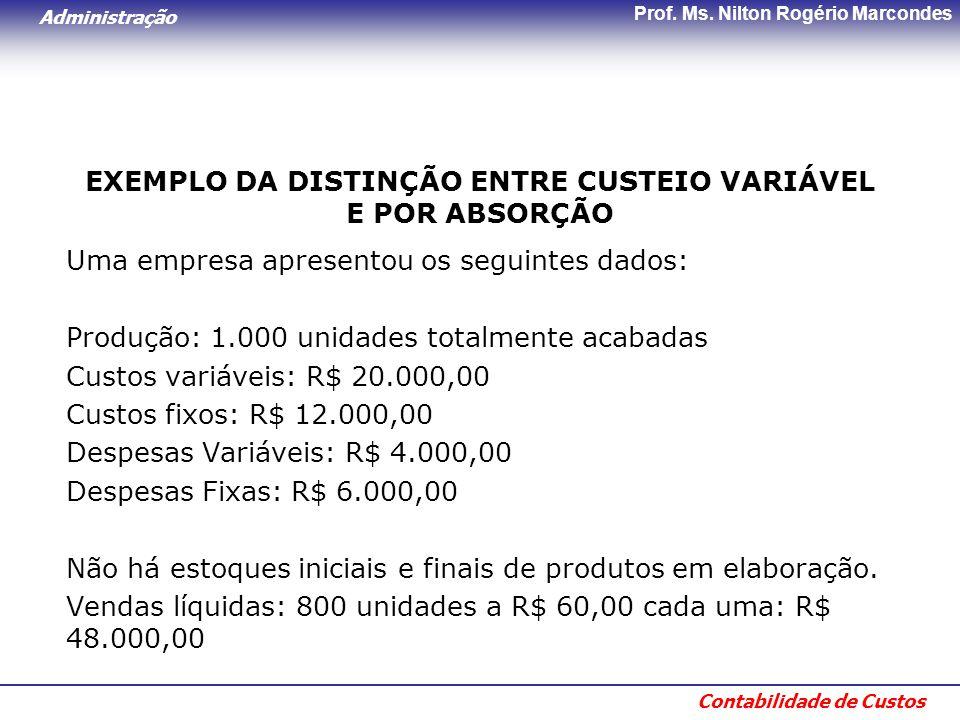Administração Contabilidade de Custos Prof. Ms. Nilton Rogério Marcondes EXEMPLO DA DISTINÇÃO ENTRE CUSTEIO VARIÁVEL E POR ABSORÇÃO Uma empresa aprese