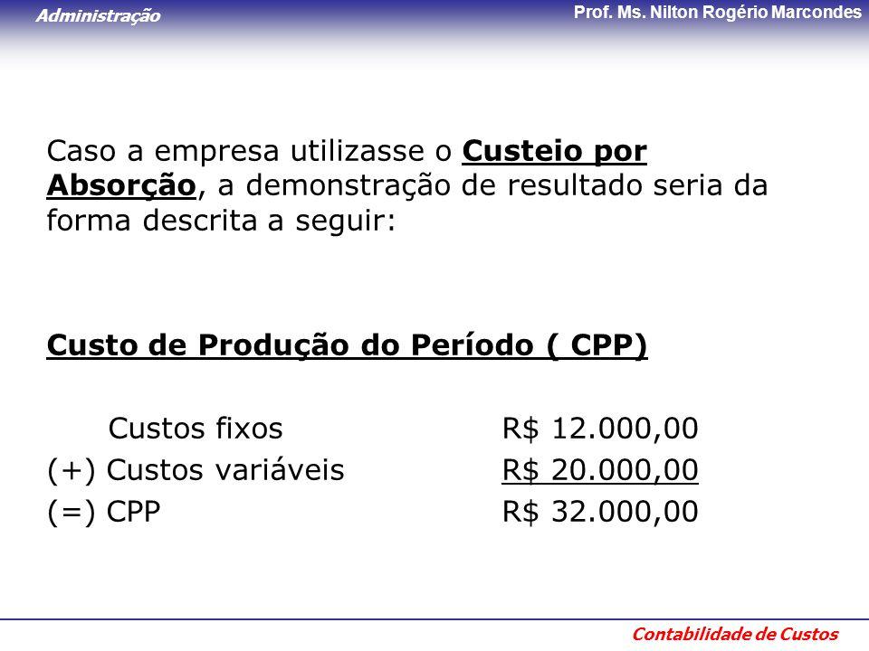 Administração Contabilidade de Custos Prof. Ms. Nilton Rogério Marcondes Caso a empresa utilizasse o Custeio por Absorção, a demonstração de resultado