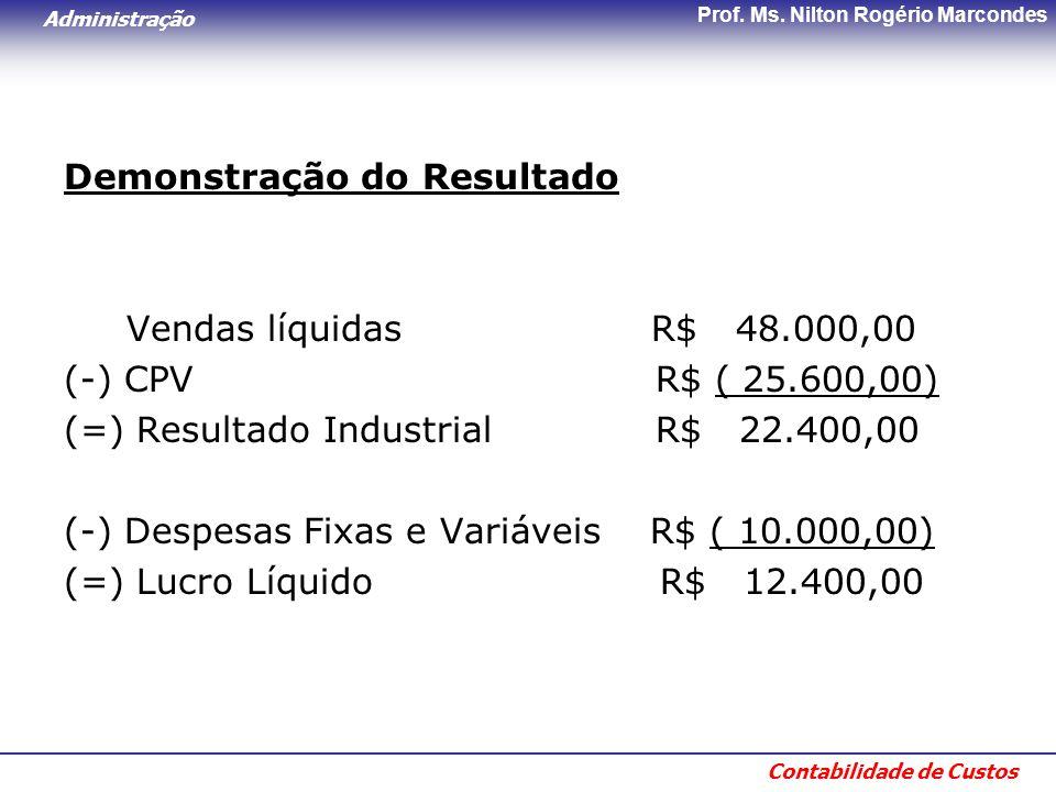 Administração Contabilidade de Custos Prof. Ms. Nilton Rogério Marcondes Demonstração do Resultado Vendas líquidas R$ 48.000,00 (-) CPV R$ ( 25.600,00
