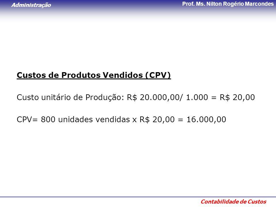 Administração Contabilidade de Custos Prof. Ms. Nilton Rogério Marcondes Custos de Produtos Vendidos (CPV) Custo unitário de Produção: R$ 20.000,00/ 1