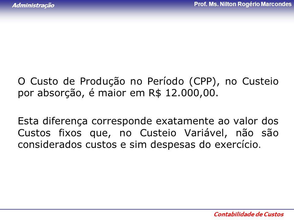 Administração Contabilidade de Custos Prof. Ms. Nilton Rogério Marcondes O Custo de Produção no Período (CPP), no Custeio por absorção, é maior em R$