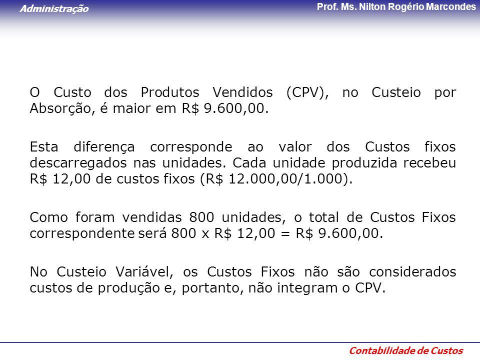 Administração Contabilidade de Custos Prof. Ms. Nilton Rogério Marcondes O Custo dos Produtos Vendidos (CPV), no Custeio por Absorção, é maior em R$ 9