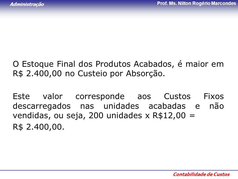 Administração Contabilidade de Custos Prof. Ms. Nilton Rogério Marcondes O Estoque Final dos Produtos Acabados, é maior em R$ 2.400,00 no Custeio por