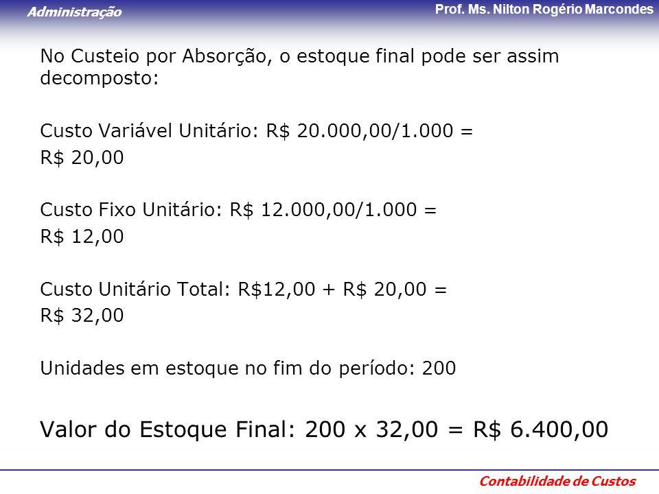 Administração Contabilidade de Custos Prof. Ms. Nilton Rogério Marcondes No Custeio por Absorção, o estoque final pode ser assim decomposto: Custo Var
