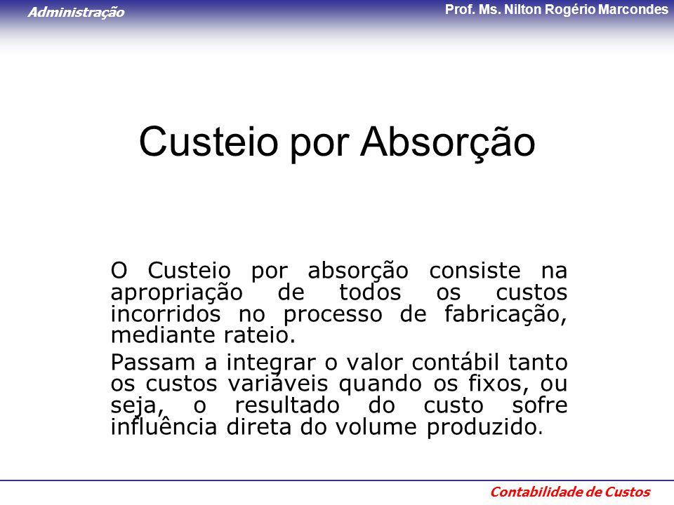 Administração Contabilidade de Custos Prof. Ms. Nilton Rogério Marcondes Custeio por Absorção O Custeio por absorção consiste na apropriação de todos