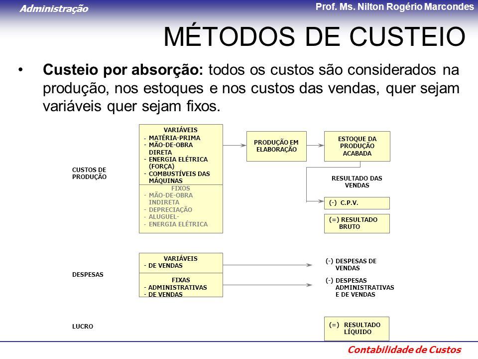 Administração Contabilidade de Custos Prof. Ms. Nilton Rogério Marcondes MÉTODOS DE CUSTEIO Custeio por absorção: todos os custos são considerados na