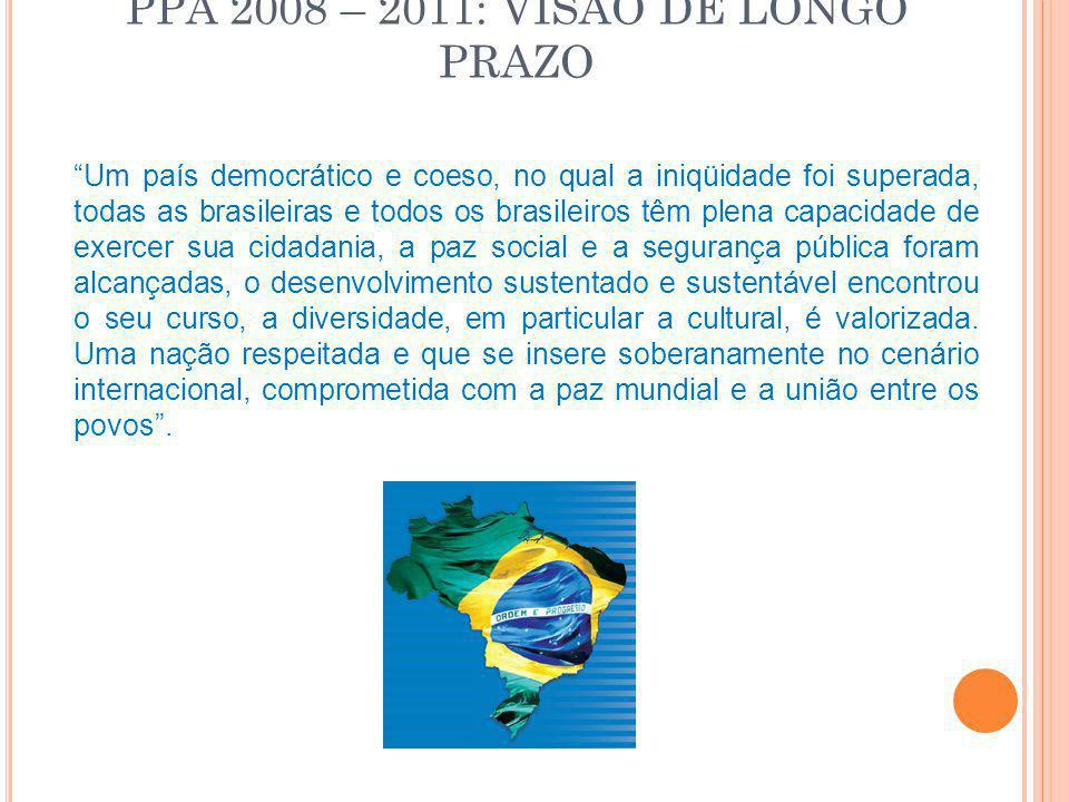 """PPA 2008 – 2011: VISÃO DE LONGO PRAZO """"Um país democrático e coeso, no qual a iniqüidade foi superada, todas as brasileiras e todos os brasileiros têm"""