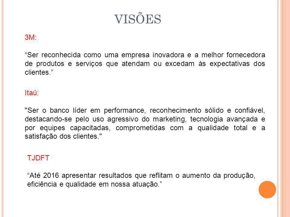 """VISÕES 3M: """"Ser reconhecida como uma empresa inovadora e a melhor fornecedora de produtos e serviços que atendam ou excedam às expectativas dos client"""