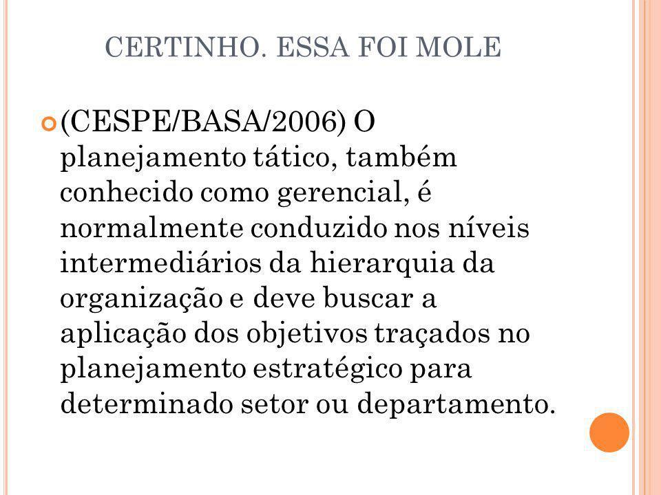 CERTINHO. ESSA FOI MOLE (CESPE/BASA/2006) O planejamento tático, também conhecido como gerencial, é normalmente conduzido nos níveis intermediários da