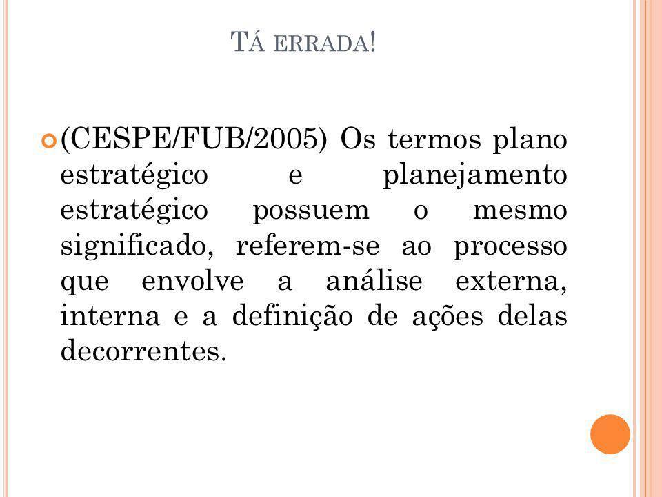 T Á ERRADA ! (CESPE/FUB/2005) Os termos plano estratégico e planejamento estratégico possuem o mesmo significado, referem-se ao processo que envolve a