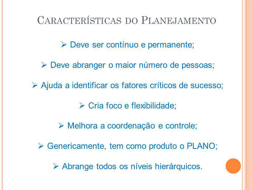 C ARACTERÍSTICAS DO P LANEJAMENTO  Deve ser contínuo e permanente;  Deve abranger o maior número de pessoas;  Ajuda a identificar os fatores crític