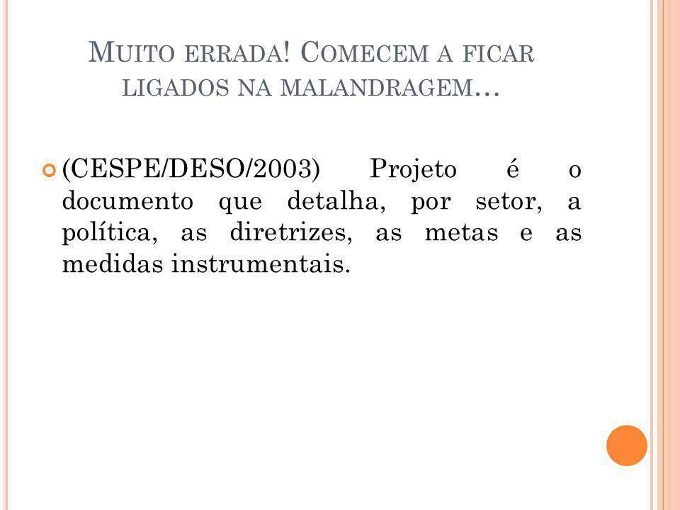 M UITO ERRADA ! C OMECEM A FICAR LIGADOS NA MALANDRAGEM … (CESPE/DESO/2003) Projeto é o documento que detalha, por setor, a política, as diretrizes, a
