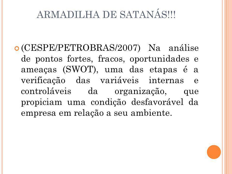 ARMADILHA DE SATANÁS!!! (CESPE/PETROBRAS/2007) Na análise de pontos fortes, fracos, oportunidades e ameaças (SWOT), uma das etapas é a verificação das