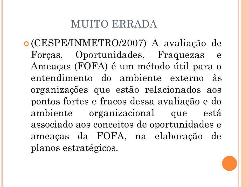 MUITO ERRADA (CESPE/INMETRO/2007) A avaliação de Forças, Oportunidades, Fraquezas e Ameaças (FOFA) é um método útil para o entendimento do ambiente ex