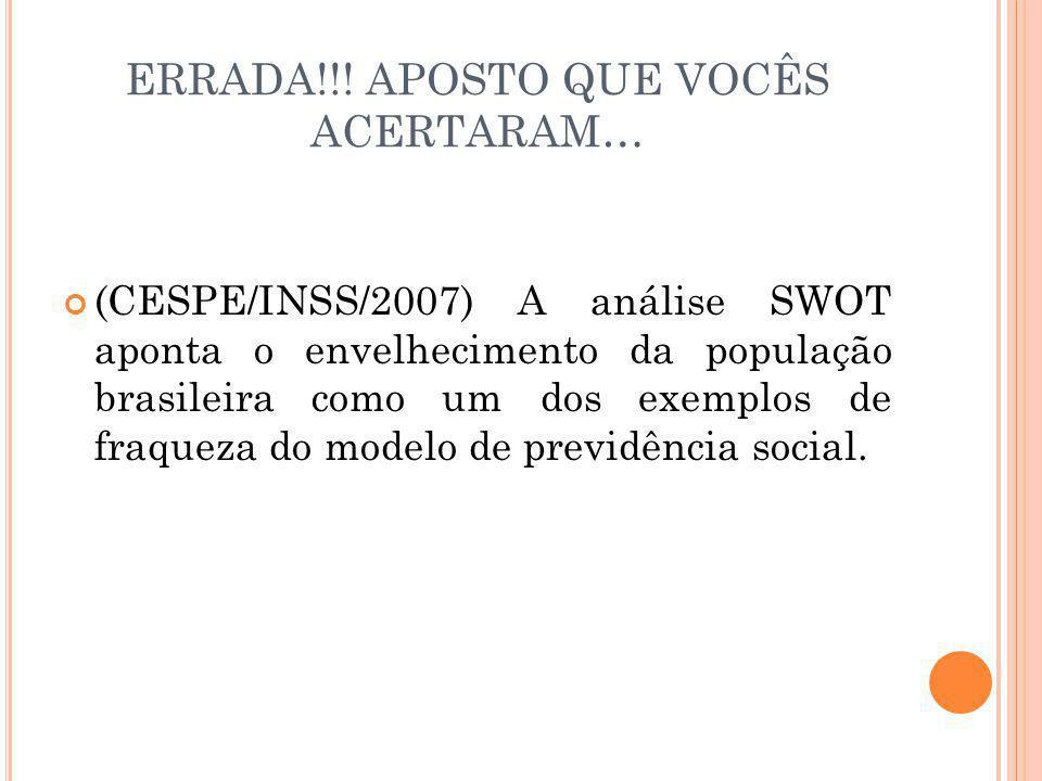 ERRADA!!! APOSTO QUE VOCÊS ACERTARAM… (CESPE/INSS/2007) A análise SWOT aponta o envelhecimento da população brasileira como um dos exemplos de fraquez