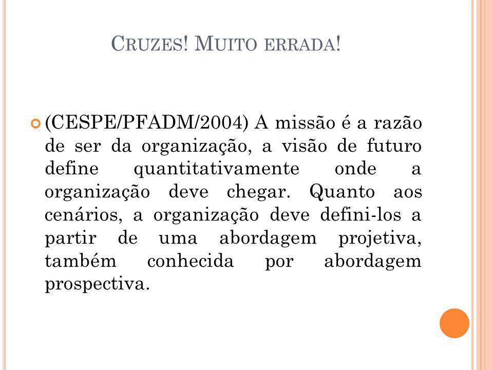 C RUZES ! M UITO ERRADA ! (CESPE/PFADM/2004) A missão é a razão de ser da organização, a visão de futuro define quantitativamente onde a organização d