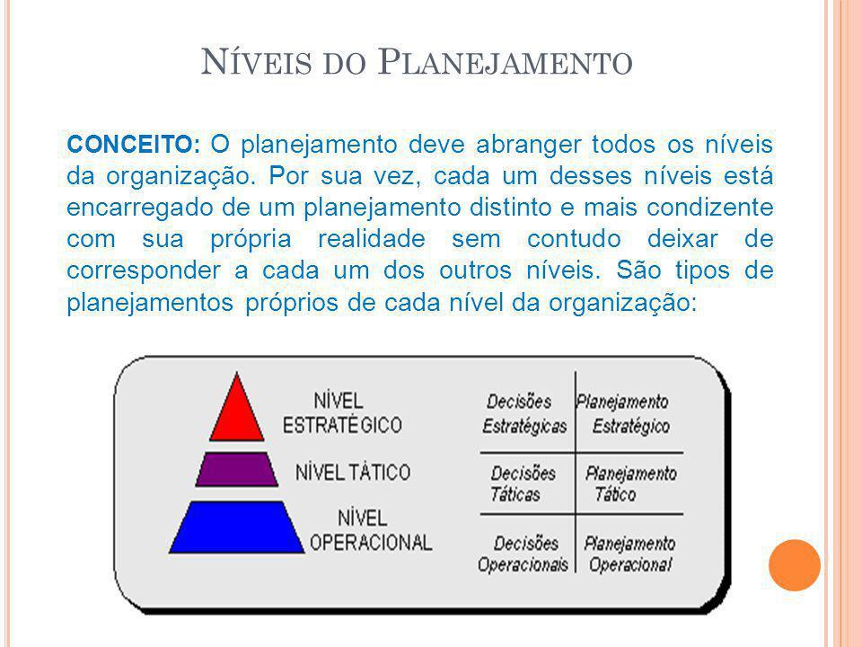 N ÍVEIS DO P LANEJAMENTO CONCEITO: O planejamento deve abranger todos os níveis da organização. Por sua vez, cada um desses níveis está encarregado de