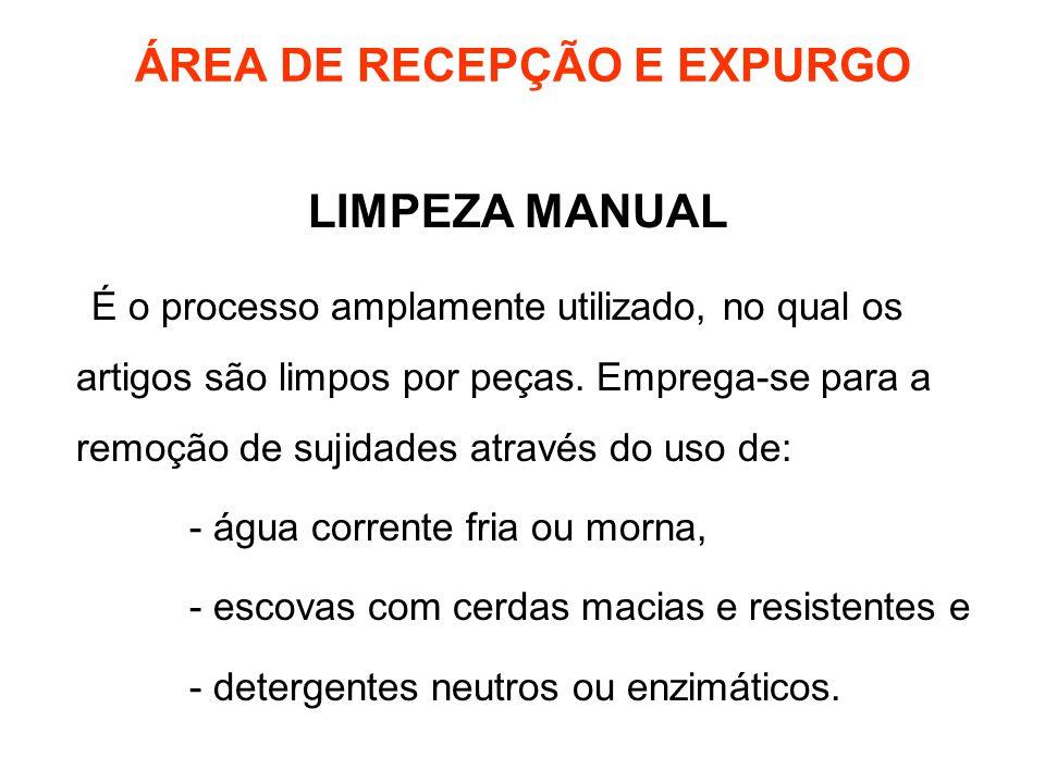 ÁREA DE RECEPÇÃO E EXPURGO LIMPEZA MANUAL É o processo amplamente utilizado, no qual os artigos são limpos por peças. Emprega-se para a remoção de suj