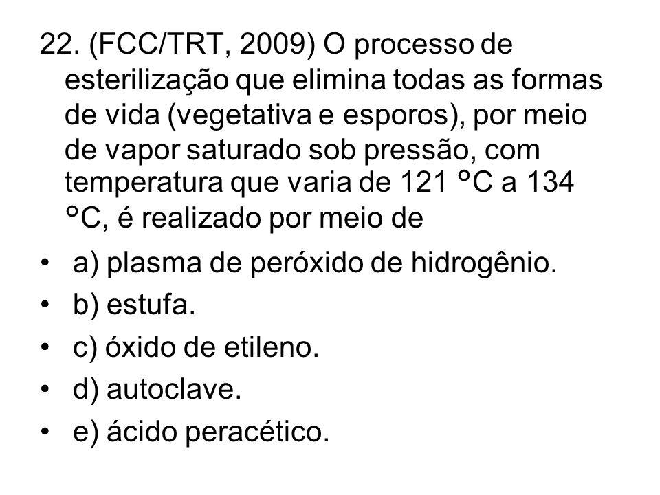 22. (FCC/TRT, 2009) O processo de esterilização que elimina todas as formas de vida (vegetativa e esporos), por meio de vapor saturado sob pressão, co