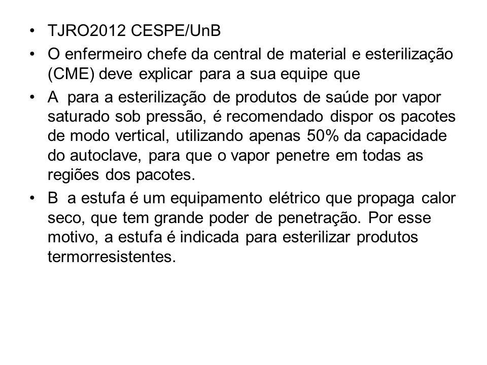 TJRO2012 CESPE/UnB O enfermeiro chefe da central de material e esterilização (CME) deve explicar para a sua equipe que A para a esterilização de produ