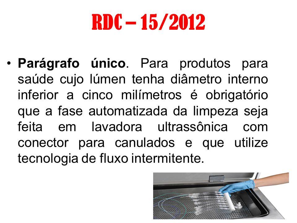 RDC – 15/2012 Parágrafo único. Para produtos para saúde cujo lúmen tenha diâmetro interno inferior a cinco milímetros é obrigatório que a fase automat