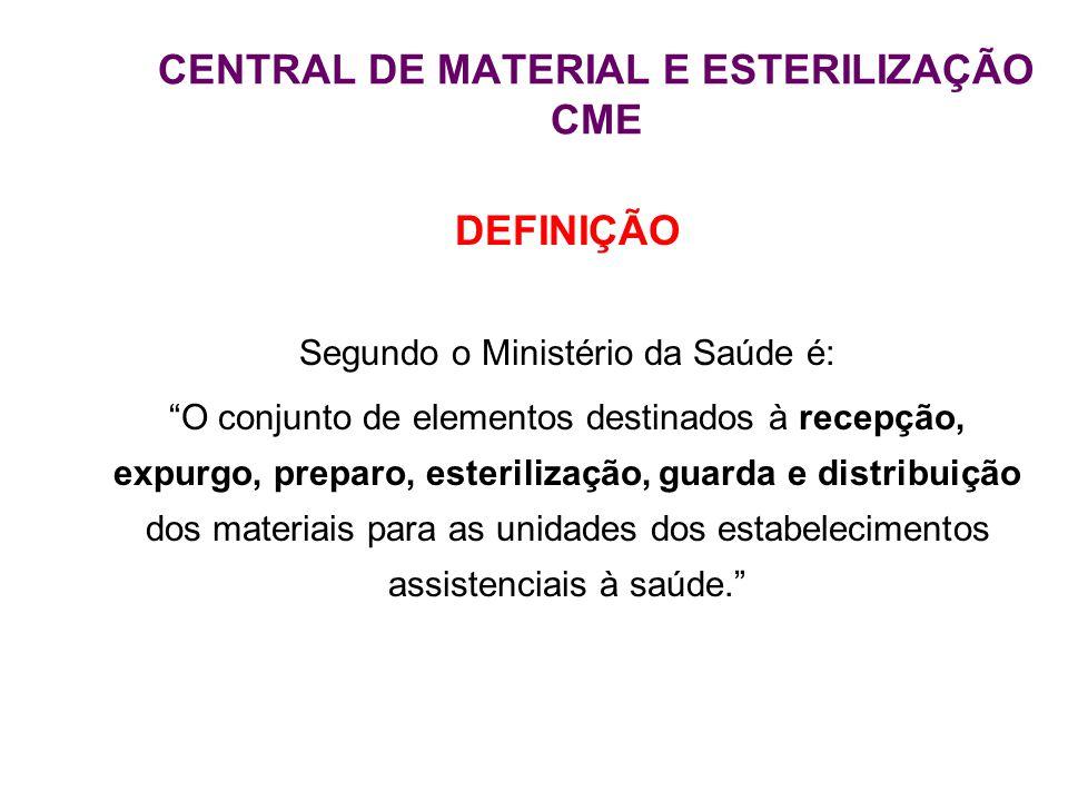 """CENTRAL DE MATERIAL E ESTERILIZAÇÃO CME DEFINIÇÃO Segundo o Ministério da Saúde é: """"O conjunto de elementos destinados à recepção, expurgo, preparo, e"""