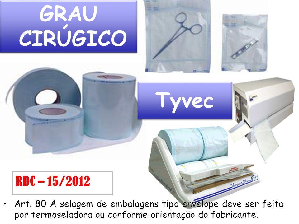 Art. 80 A selagem de embalagens tipo envelope deve ser feita por termoseladora ou conforme orientação do fabricante. RDC – 15/2012 GRAU CIRÚGICO Tyvec