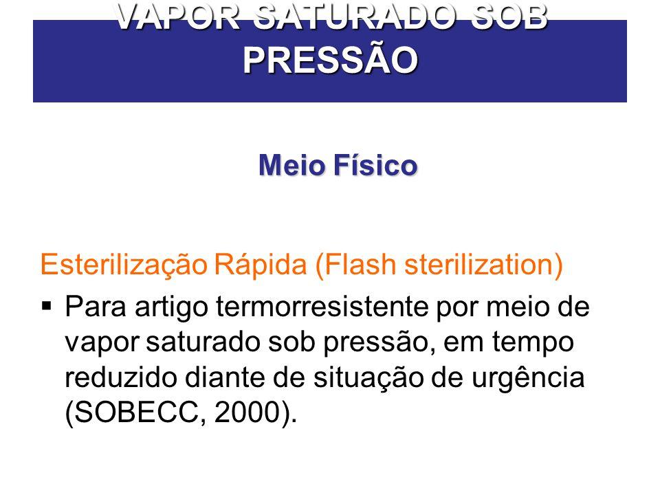 VAPOR SATURADO SOB PRESSÃO Esterilização Rápida (Flash sterilization)  Para artigo termorresistente por meio de vapor saturado sob pressão, em tempo