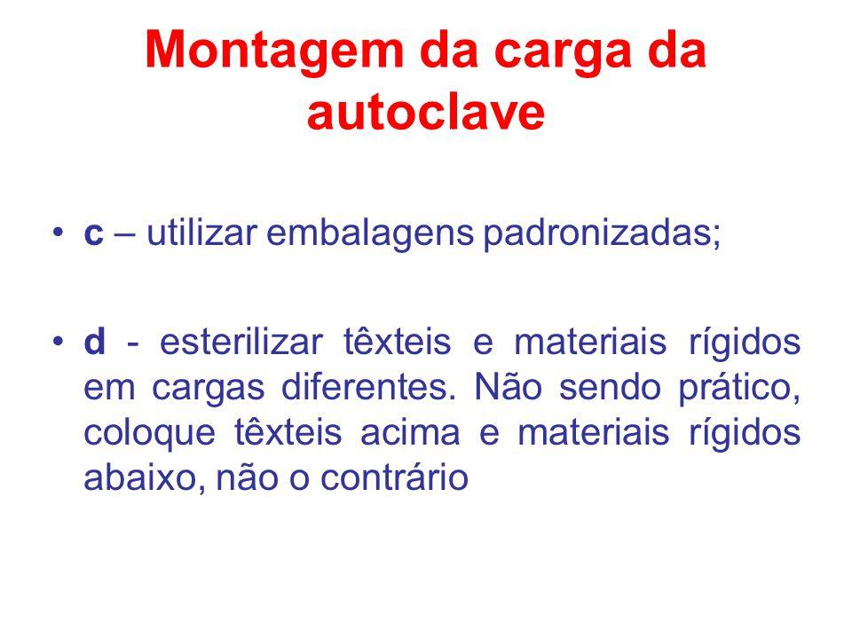 Montagem da carga da autoclave c – utilizar embalagens padronizadas; d - esterilizar têxteis e materiais rígidos em cargas diferentes. Não sendo práti