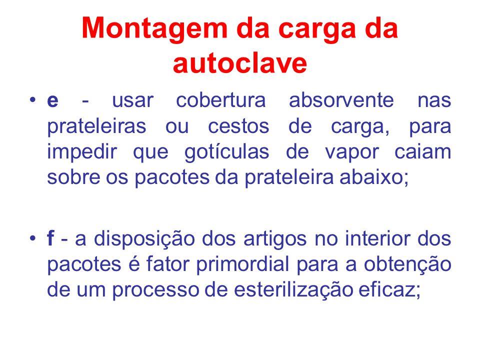 Montagem da carga da autoclave e - usar cobertura absorvente nas prateleiras ou cestos de carga, para impedir que gotículas de vapor caiam sobre os pa