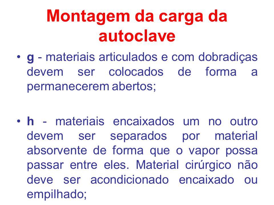 Montagem da carga da autoclave g - materiais articulados e com dobradiças devem ser colocados de forma a permanecerem abertos; h - materiais encaixado