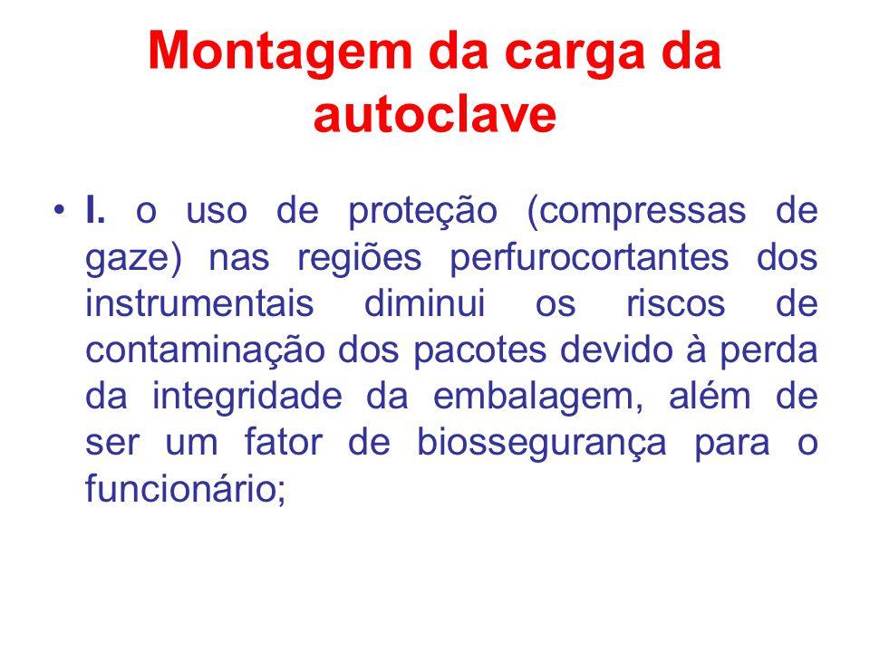 Montagem da carga da autoclave I. o uso de proteção (compressas de gaze) nas regiões perfurocortantes dos instrumentais diminui os riscos de contamina