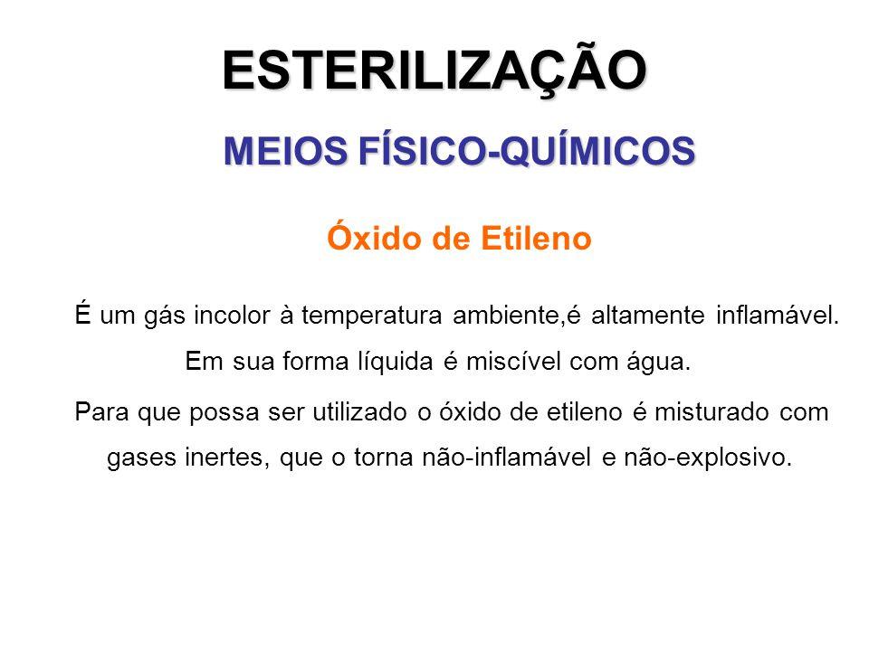 ESTERILIZAÇÃO MEIOS FÍSICO-QUÍMICOS Óxido de Etileno É um gás incolor à temperatura ambiente,é altamente inflamável. Em sua forma líquida é miscível c