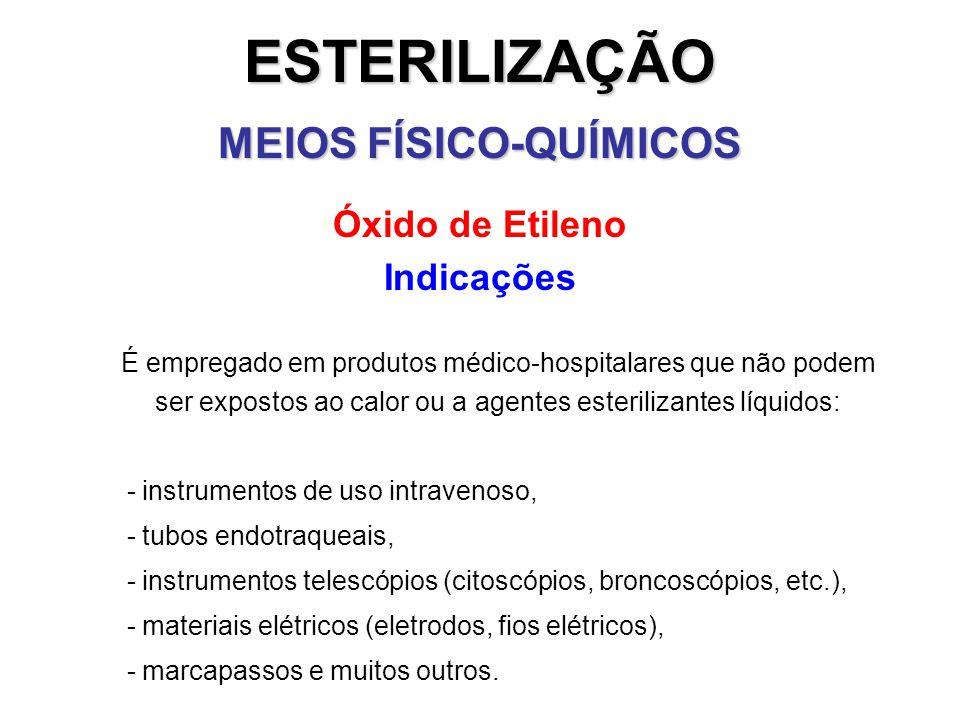 ESTERILIZAÇÃO MEIOS FÍSICO-QUÍMICOS Óxido de Etileno Indicações É empregado em produtos médico-hospitalares que não podem ser expostos ao calor ou a a